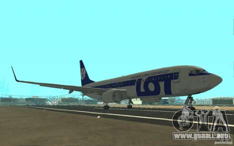 Boeing 737 LOT Polish Airlines para GTA San Andreas vista hacia atrás
