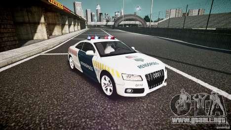 Audi S5 Hungarian Police Car white body para GTA 4 vista hacia atrás