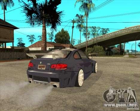 BMW M3 E92 TUNED para GTA San Andreas vista posterior izquierda