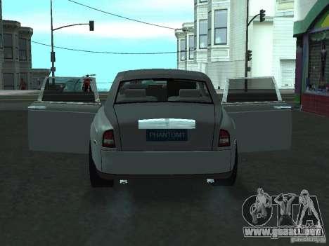 Rolls-Royce Phantom Limousine 2003 para GTA San Andreas vista hacia atrás