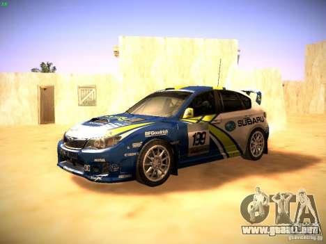 Subaru impreza Tarmac Rally para GTA San Andreas left