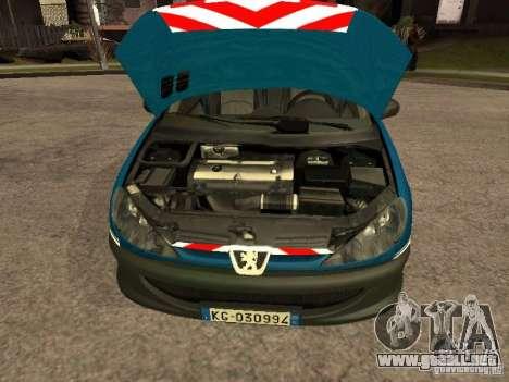 Peugeot 206 Police para la visión correcta GTA San Andreas