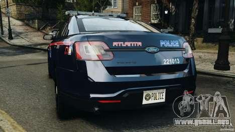 Ford Taurus 2010 Atlanta Police [ELS] para GTA 4 Vista posterior izquierda