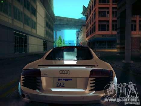Audi R8 V10 para GTA San Andreas vista hacia atrás