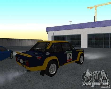 Fiat 131 Rally para GTA San Andreas vista posterior izquierda