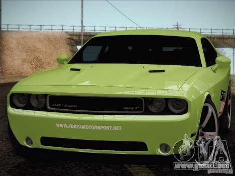 Dodge Challenger SRT8 2010 para la visión correcta GTA San Andreas