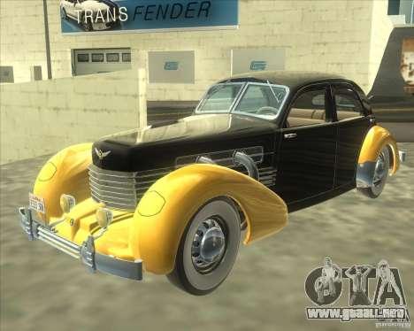 1937 Cord 812 Charged Beverly Sedan para GTA San Andreas vista posterior izquierda