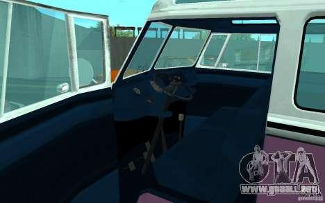 Volkswagen Transporter T1 SAMBAQ CAMPERVAN para GTA San Andreas interior