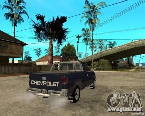 1996 Chevrolet Blazer pickup para GTA San Andreas vista posterior izquierda