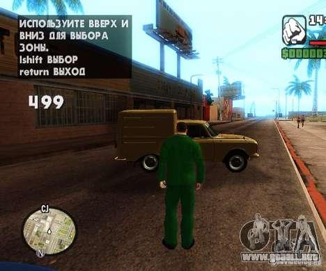 Сar coches de spawn-spawn para GTA San Andreas segunda pantalla