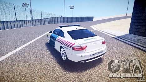 Audi S5 Hungarian Police Car white body para GTA 4 Vista posterior izquierda