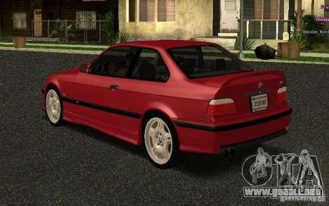 BMW E36 M3 1997 Coupe Forza para GTA San Andreas vista posterior izquierda