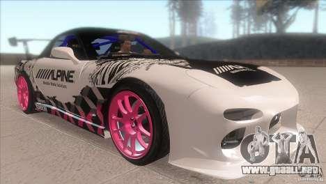 Mazda RX-7 FD K.Terej para GTA San Andreas vista hacia atrás