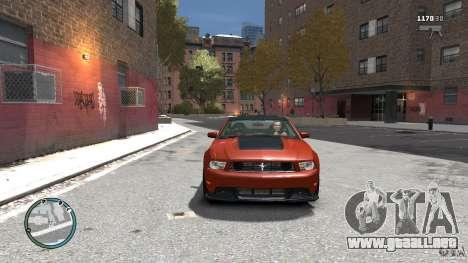 Ford Mustang Boss 302 2012 para GTA 4 vista hacia atrás