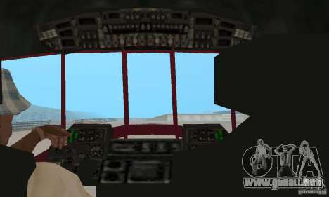 MI-17 civiles (Inglés) para GTA San Andreas vista hacia atrás