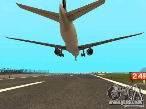 Boeing 777-200 Singapore Airlines para GTA San Andreas vista hacia atrás