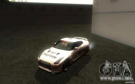 Nissan GTR R35 Spec-V 2010 para visión interna GTA San Andreas