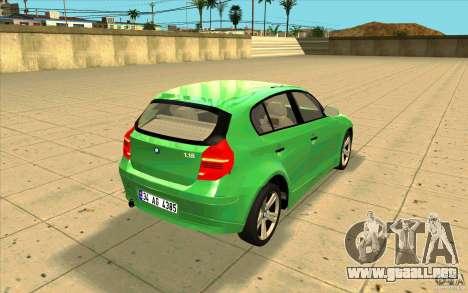 BMW 118i para vista lateral GTA San Andreas