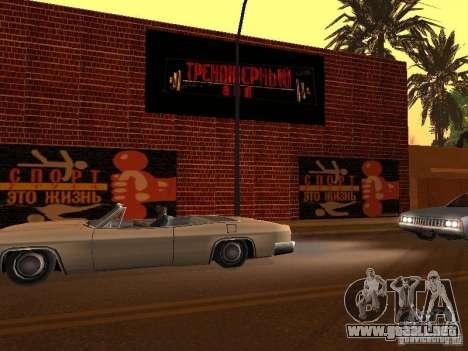 Nuevo gimnasio para GTA San Andreas quinta pantalla