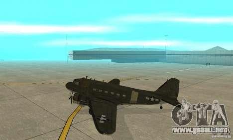C-47 Skytrain para GTA San Andreas vista posterior izquierda