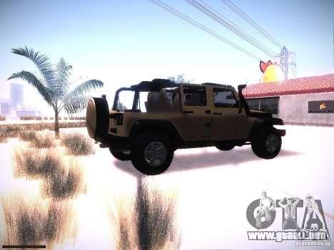 Jeep Wrangler Rubicon Unlimited 2012 para la visión correcta GTA San Andreas