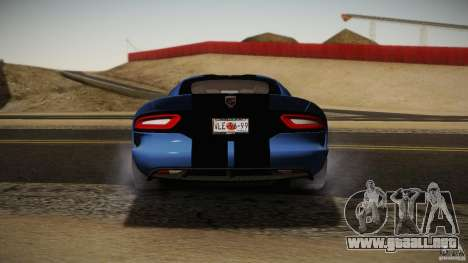 Dodge Viper GTS 2013 para GTA San Andreas vista hacia atrás
