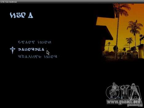La fuente del NFS MW V2 para GTA San Andreas segunda pantalla
