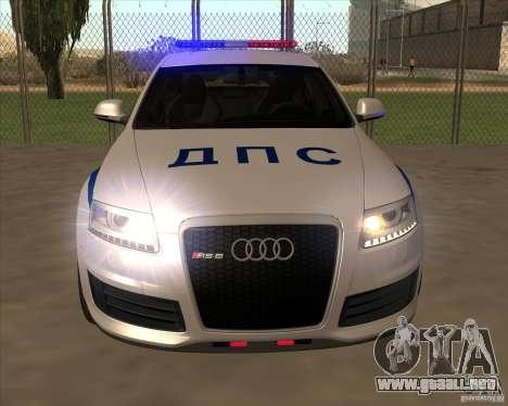Audi RS6 2010 DPS para visión interna GTA San Andreas