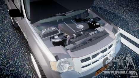 Ford Escape 2011 Hybrid Civilian Version v1.0 para GTA 4 vista hacia atrás