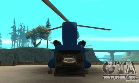CH-47 Chinook ver 1.2 para GTA San Andreas vista hacia atrás
