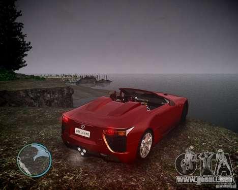 Lexus LF-A Roadster para GTA 4 left