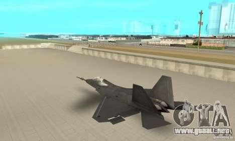 YF-22 Black para GTA San Andreas vista posterior izquierda