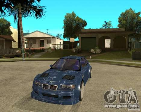 BMW M3 GTR de Need for Speed Most Wanted para GTA San Andreas vista hacia atrás
