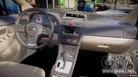 Subaru Impreza Sedan 2012 para GTA 4 vista superior