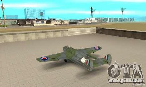 De-Havilland-Vampire ver 2.0 para GTA San Andreas vista posterior izquierda