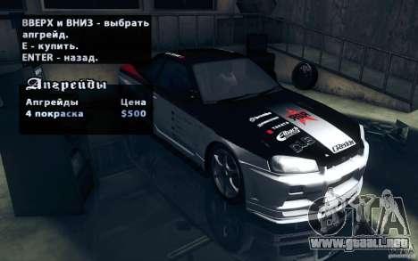 Nissan Skyline GTR R34 VSpecII para GTA San Andreas vista hacia atrás