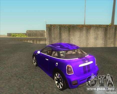 Mini Coupe 2011 Concept para GTA San Andreas vista posterior izquierda
