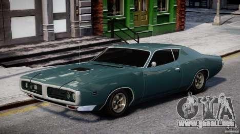 Dodge Charger RT 1971 v1.0 para GTA 4 vista hacia atrás