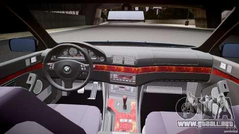 BMW 530I E39 e63 white wheels para GTA 4 vista hacia atrás
