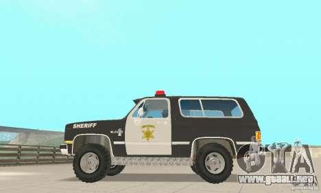 Chevrolet Blazer Sheriff Edition para GTA San Andreas vista hacia atrás