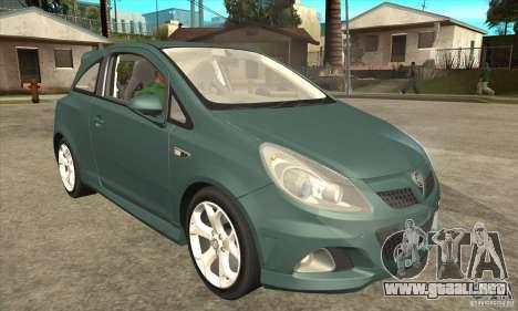 Vauxhall Corsa VXR para visión interna GTA San Andreas