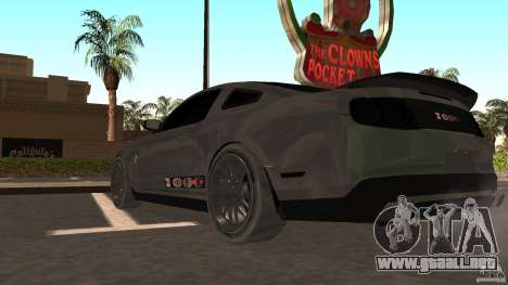 Shelby Mustang 1000 para GTA San Andreas vista posterior izquierda