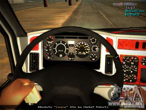 Kenworth T2000 v 2.5 para GTA San Andreas interior