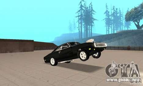 Dodge Charger RT 1970 The Fast & The Furious para vista lateral GTA San Andreas