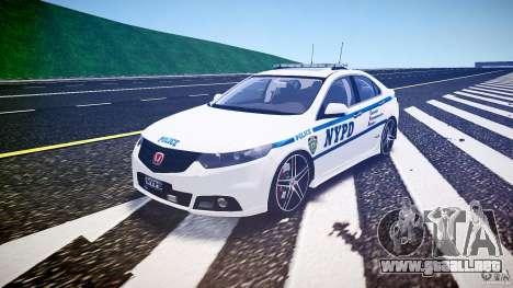Honda Accord Type R NYPD (City Patrol 2322) ELS para GTA 4 vista hacia atrás