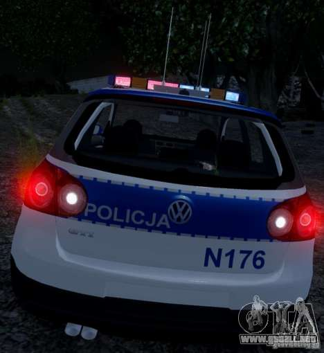 Volkswagen Golf V Polish Police para GTA 4 Vista posterior izquierda