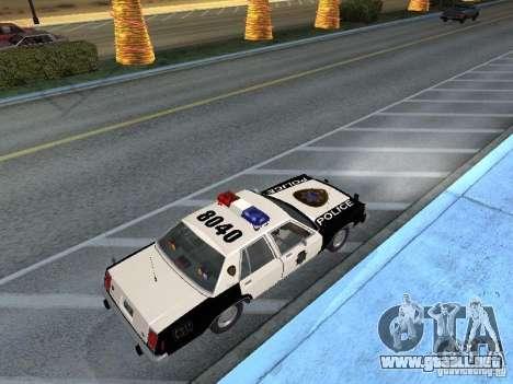 Ford LTD Crown Victoria Interceptor LAPD 1985 para GTA San Andreas vista posterior izquierda