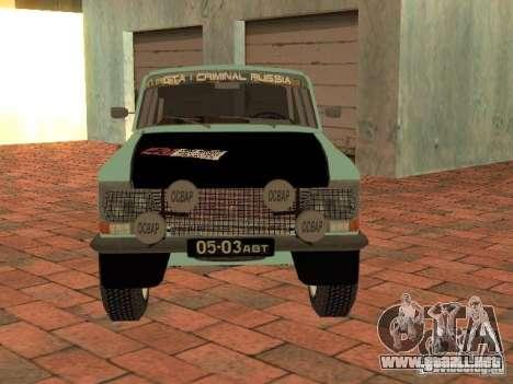 Versión Rally Moskvich 412 para la visión correcta GTA San Andreas