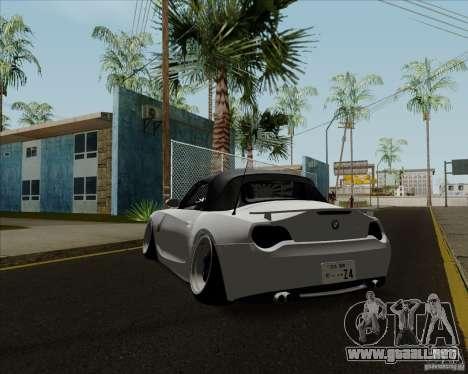 BMW Z4 Hellaflush para GTA San Andreas vista posterior izquierda
