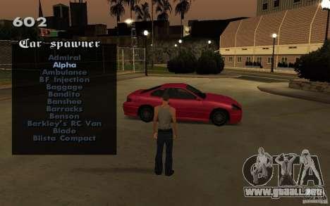Vehicles Spawner para GTA San Andreas quinta pantalla